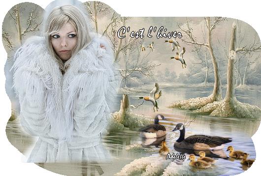 C'est l'hiver, femme et paysage neige