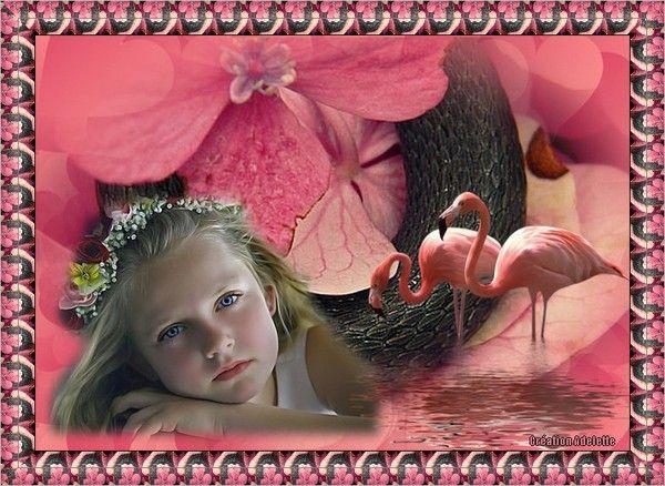 Petite fille flamands roses