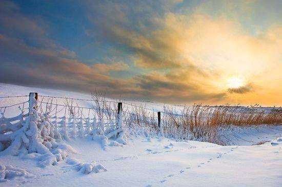 Neige et lever de soleil