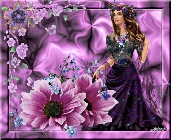 8 Juillet femme et fleurs fond mauve