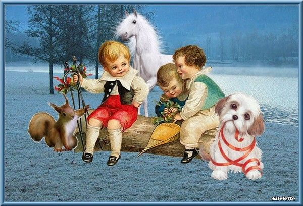 Enfants cheval, neige