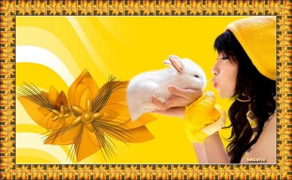 Femme , lapin, fond jaune