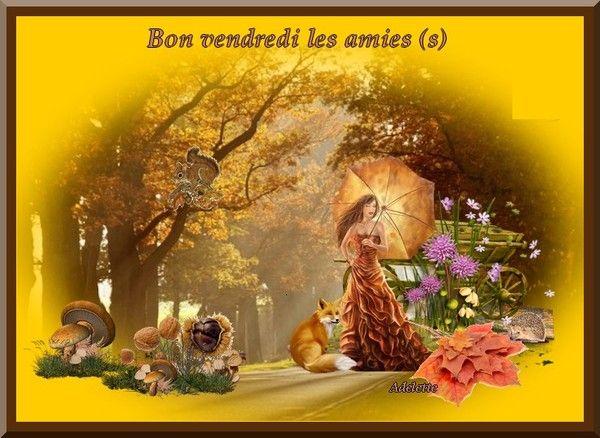 Bon vendredi les amies (s) automne fond jaune