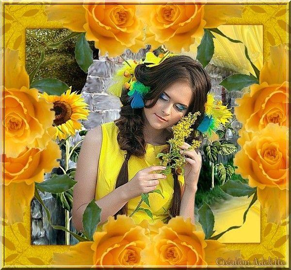 Femme fleurs jaunes