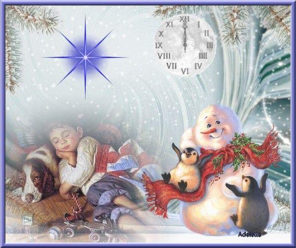 Enfant qui dort avec un chien , bonhommes neige