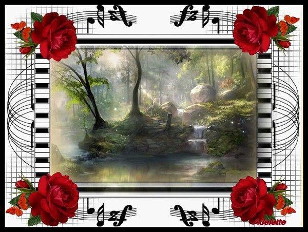 Paysage et roses rouges