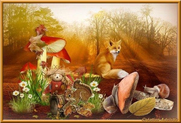 Automne avec champignon et renard