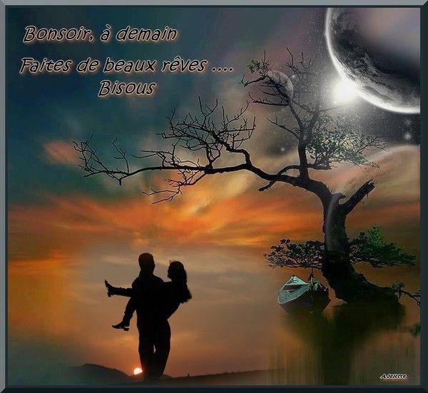 Bonsoir, à demain couple, coucher de soleil