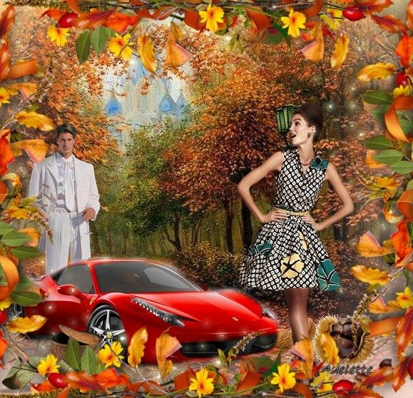 Automne et voiture de sport rouge