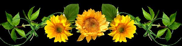 Barre de séparation fleurie soleils jaunes