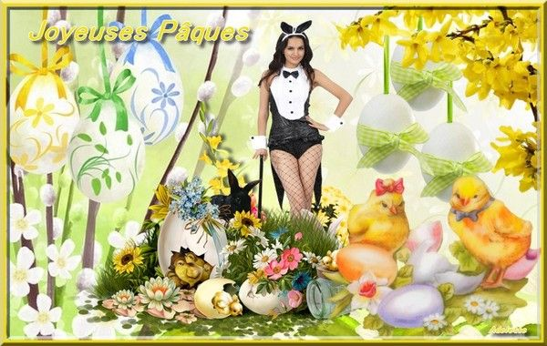 Joyeuses Pâques femme oeufs