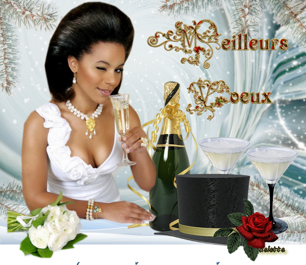 Femme champagne Meilleurs voeux