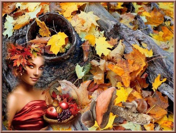 Automne, femme, feuilles mortes