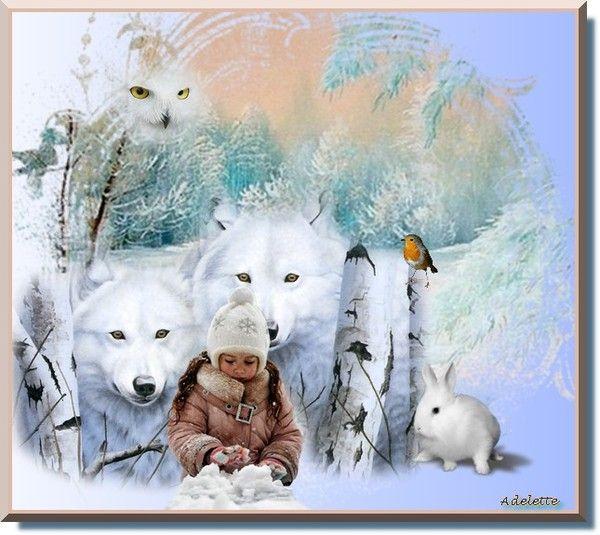 Hiver, loups blancs, petite fille