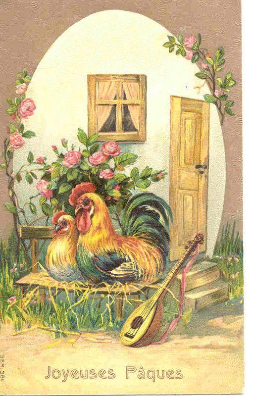 Pâques coq et poule
