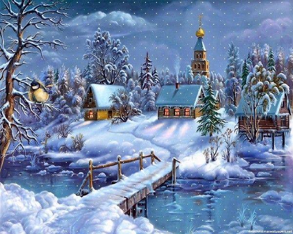 Maisons sous la neige