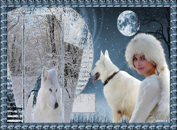 Femme, loup, hiver