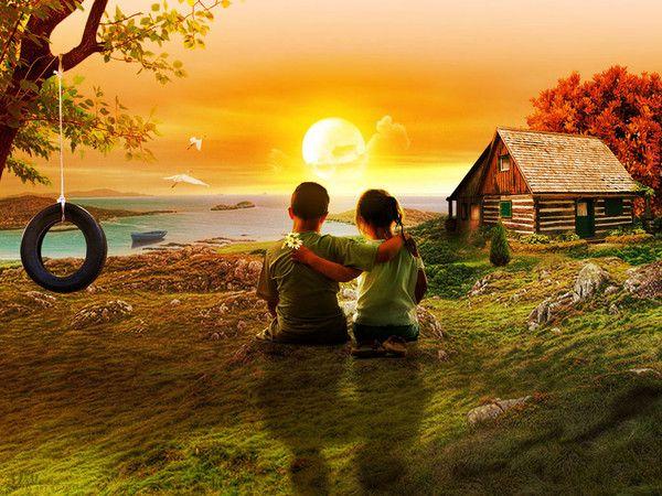 Couple d'enfants coucher de soleil