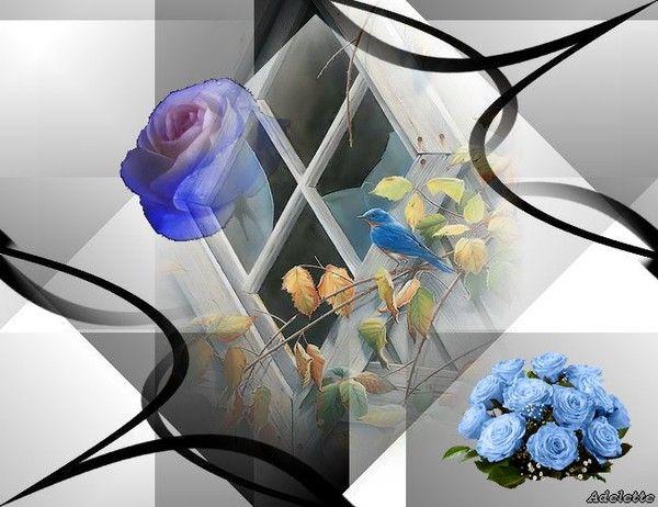 Oiseaux bleus et fleurs