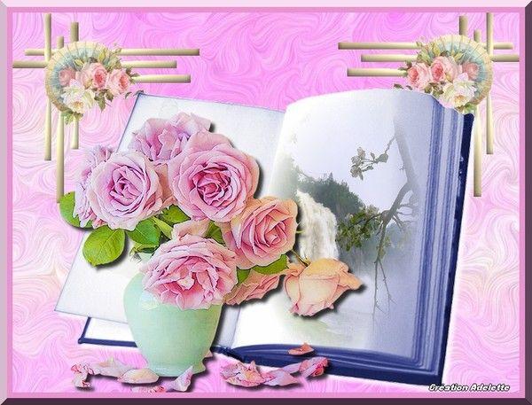 Bouquet de roses et livre