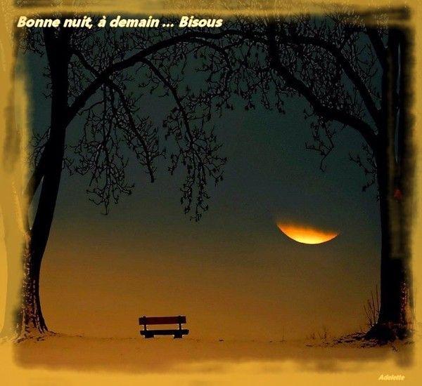 Bonne nuit, banc et coucher de soleil