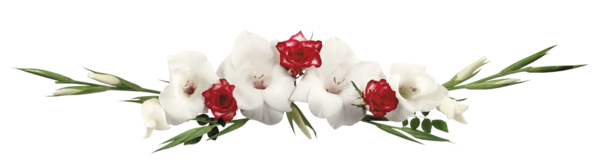 Barre de séparation fleurs banches et rouges