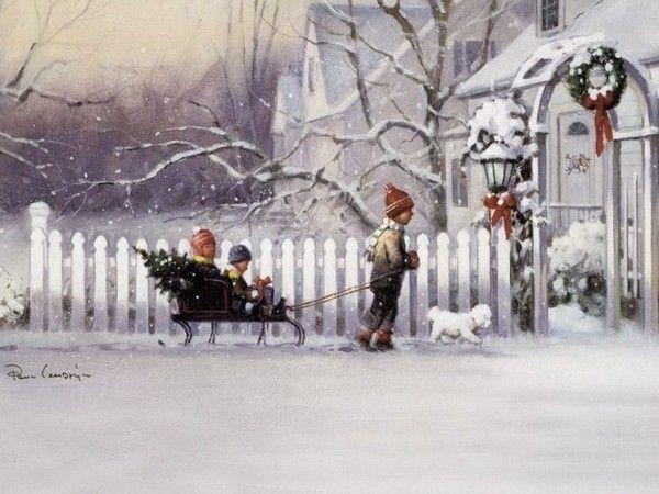 Paysage neigeux et enfants