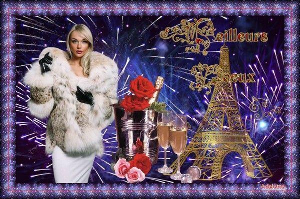 Meilleurs voeux femme manteau blanc