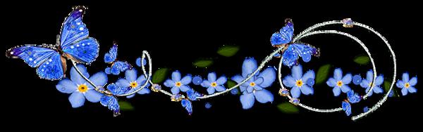 Barre de séparation fleurs bleues et papillons