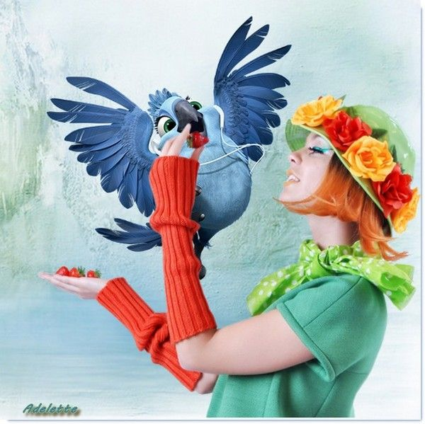 Perroquet bleu et femme